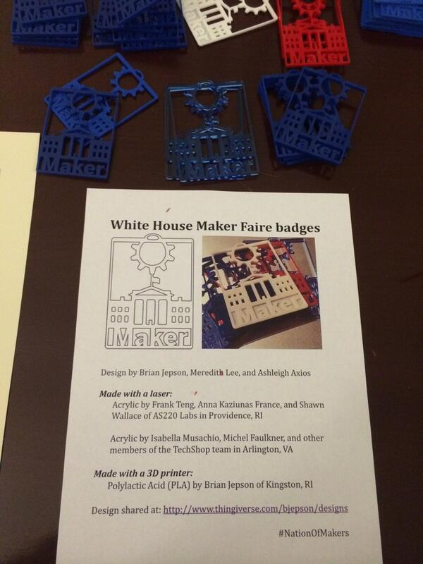 White House Maker Faire is about to start- nice ID tags! #NationOfMakers http://t.co/gcyRNB6UwY
