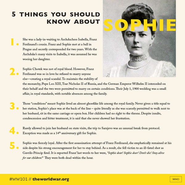 @Duchess_Sophie #WW101—5 Things You Should Know About Sophie Chotek, the Duchess of Hohenburg. http://t.co/xtYTEU7kBE