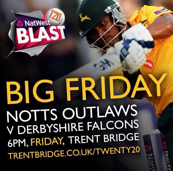 RE-TWEET to win two tickets for Notts Outlaws V Derbyshire @trentbridge #bigfriday http://t.co/OQi4vleAVj