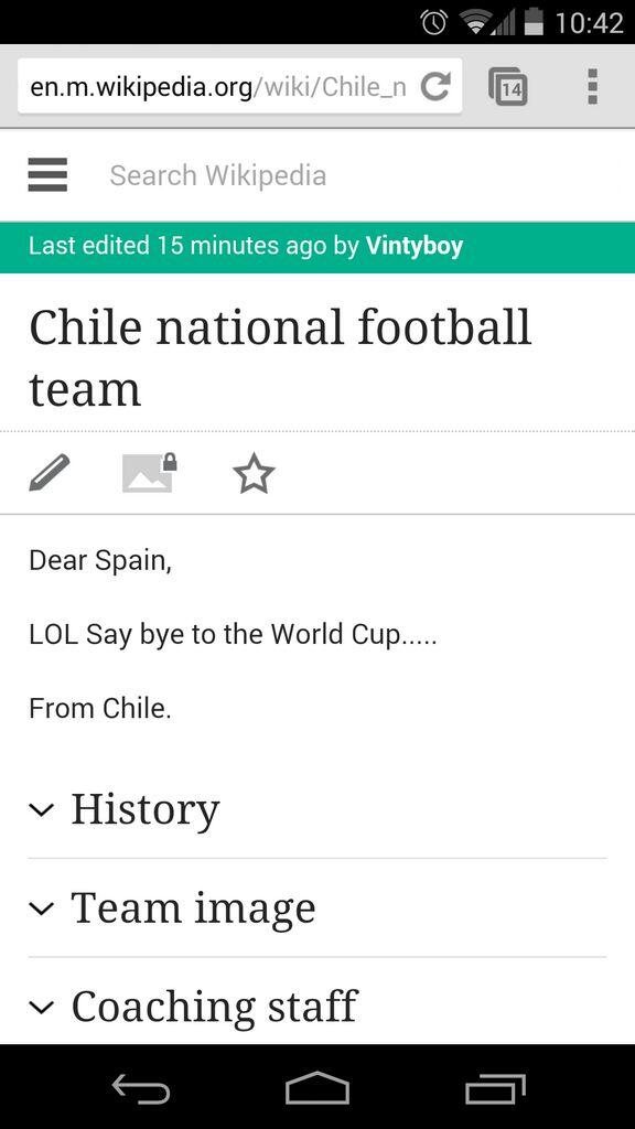 hahaha...Chile National Team wiki page #chi #esp http://t.co/Fp8gv7u7ca
