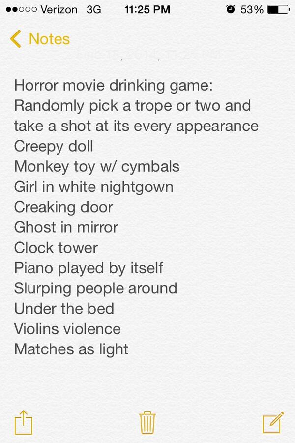 kenz on twitter scary movie drinking game with the conjuring aka