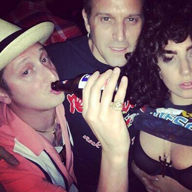 Me @ladygaga & @BrianNewmanNY raising hell @ArlenesGrocery in the Lower East Side! #RivingtonRebels http://t.co/rXpvw1w4Mn