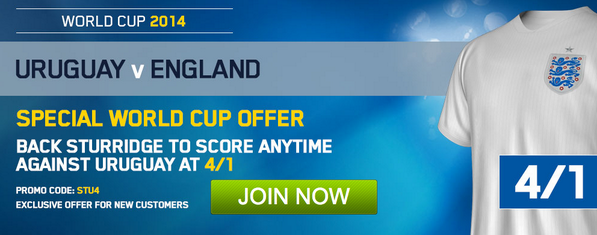 EXCLUSIVE Betting Special! Daniel Sturridge to score for England v Uruguay is 4/1!!! [Enhanced Odds]