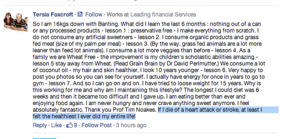 """If I die of a heart attack it'll all be worth it."" Smart thinking by a @ProfTimNoakes fan. http://t.co/I1JClYCjng"