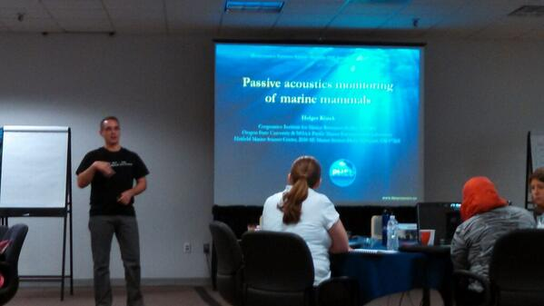 ORCAA's fearless leader takes over to talk about passive acoustic monitoring #SeaBASS2014 http://t.co/jPZW0eIM9L