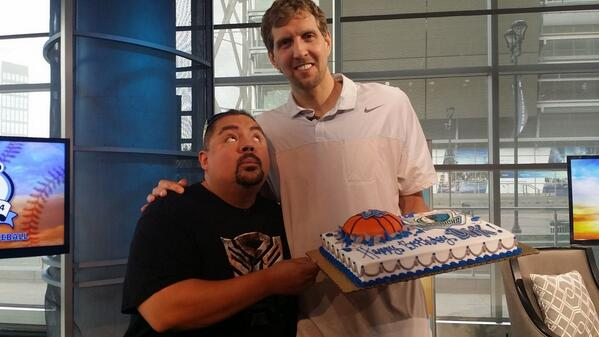 So fun to have Dirk and Fluffy Guy on the show today....as we wished Dirk a #happybirthday!@fluffyguy @swish41 http://t.co/ekqhkxs2gu