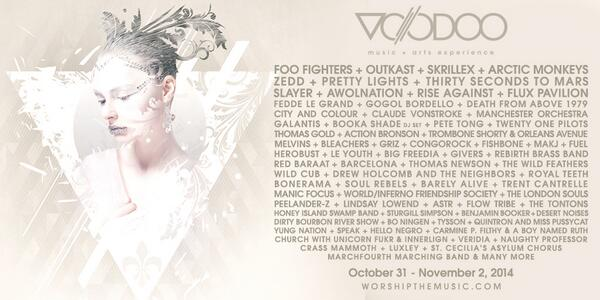 2014 Voodoo Music + Arts Experience lineup. Join The Ritual with special presale pricing at http://t.co/I72BpQx0wp http://t.co/c3pvQi2gSG