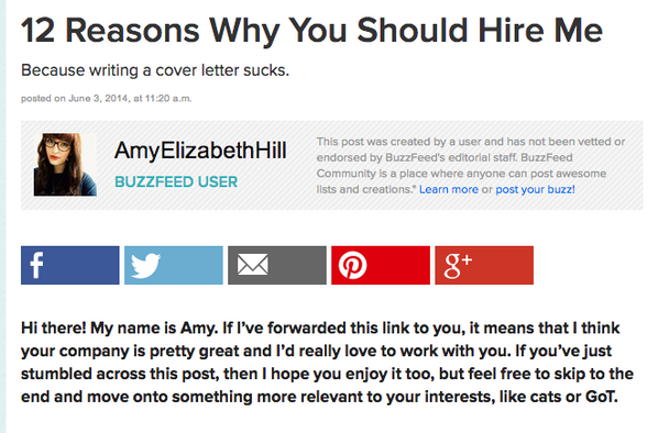 The Muse On Twitter This BuzzFeed Cover Letter Is One Of Best