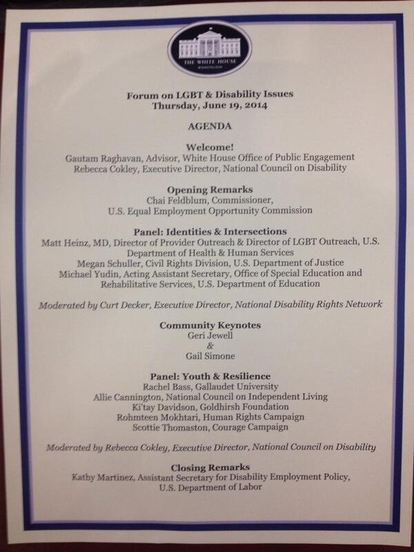 At @WhiteHouse for @TheTaskForce event on #LGBT & #Disability issues @WhiteHouse @NDRNadvocates #LGBTD http://t.co/6JcWqyaKQw