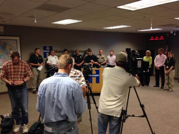 My day has been all about #mnwx and flooding. At news conf. in Medina http://t.co/i1cUACsWzL