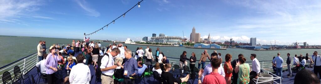 View from the lake of downtown Cleveland, aboard the Nautica Queen