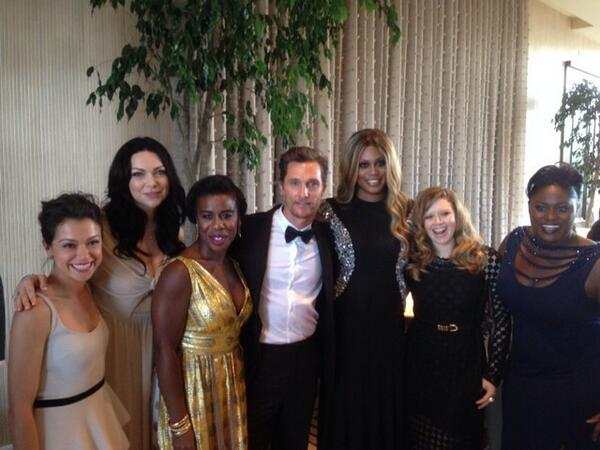 Our beautiful #OITNB girls with @tatianamaslany and @McConaughey at the #CriticsChoice Awards! http://t.co/cLhOtt7HT6