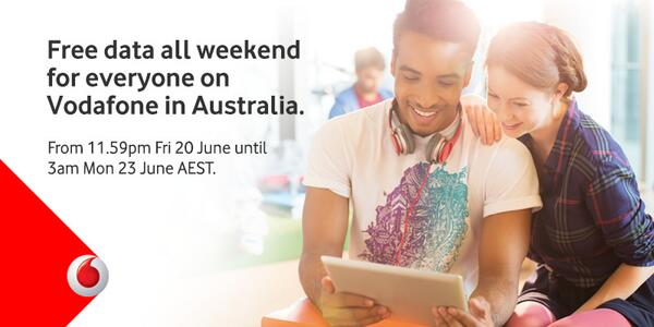 Enjoy free data all weekend on us in Australia. It's our way to say thanks for being with us. http://t.co/oVEE6tnQ8z http://t.co/oDnf0n9F3Q