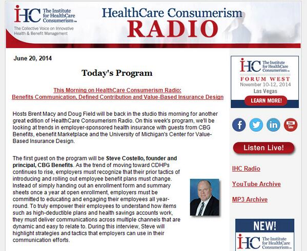 Excited to hear @StevenMCostello on @the_IHC radio today! The topic: Benefits Communication: http://t.co/Jh30ZeeZPH http://t.co/RNbWk17GKQ