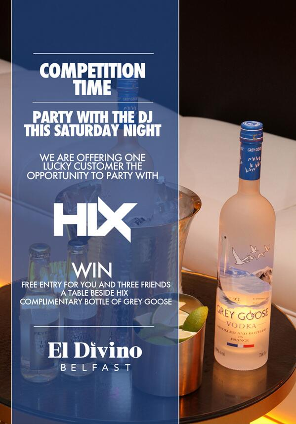 It's @ElDivinoBelfast's White Party this Sat! Follow + RT this to WIN a table for u +3 mates & a bottle of Grey Goose http://t.co/24cTtM8pbX