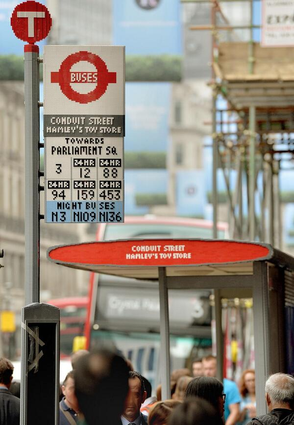 Working with LEGO & Trueform we've installed a new bus stop on Regent St made of 100,000 bricks #legobusstop #YOTB http://t.co/PzU3WQuELR