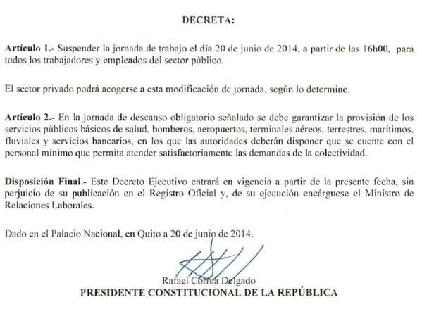 .@MashiRafael decreta para hoy, jornada laboral del sector público, hasta las 16h00 ¡Todos apoyar a la TRI! http://t.co/Eu24yJocOk