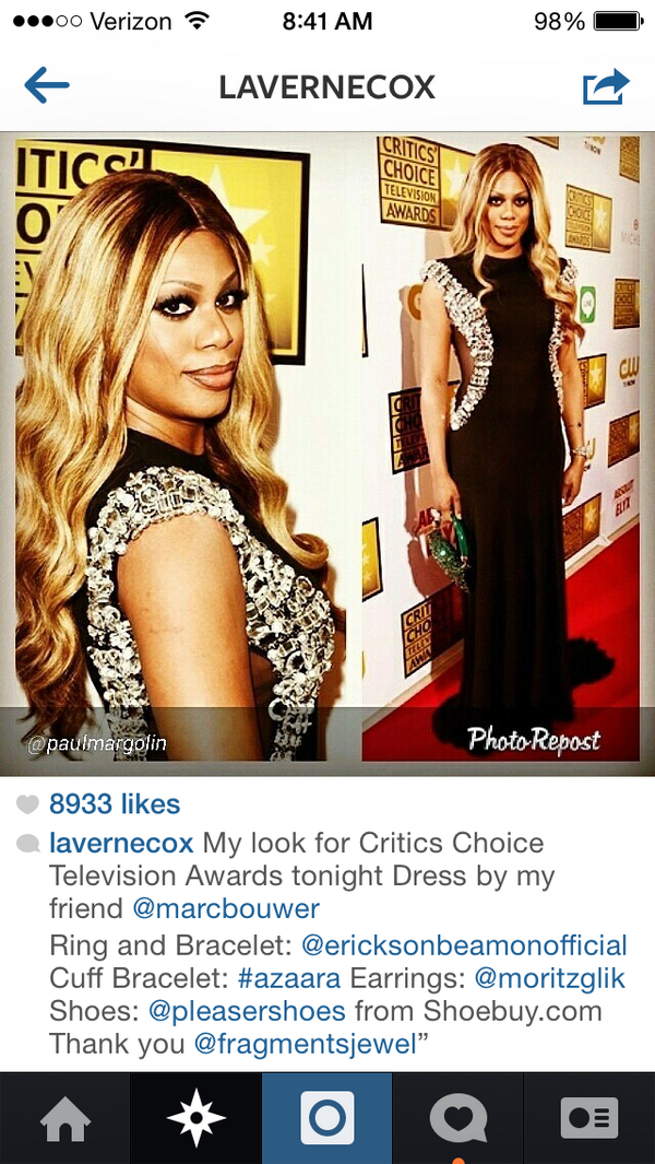 .@Lavernecox was looking fab last night at the #CriticsChoiceAwards in her #Pleaser from @shoebuy! http://t.co/5V21ofWwdj