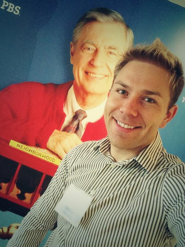 I had to snap a selfie with Mister Rogers. #PBSDIsummit http://t.co/j5o7AyDasL