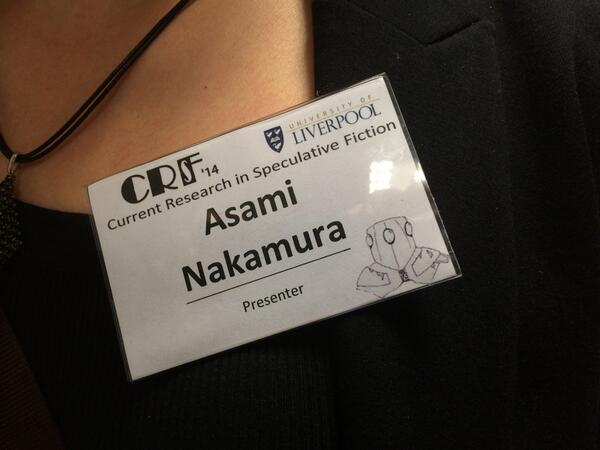 Everyone's just noticed that our name badges have different sffh drawings on them - wow! #CRSF2014 http://t.co/2f5oM4Wdo8