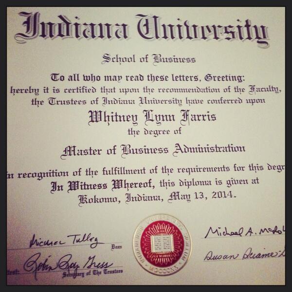Iu Kokomo On Twitter Whitfarris My Iukokomo Mba Diploma Came