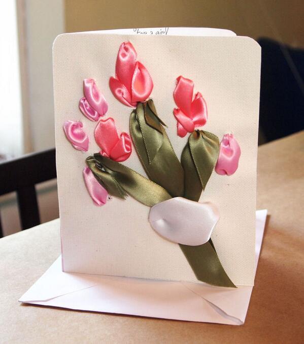 Как сделать открытку с тюльпанами, открытки