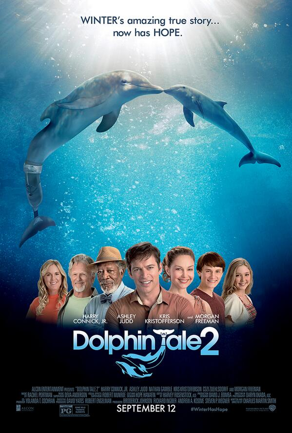 New poster for #DolphinTale2 starring @HarryConnickJr, @AshleyJudd, Kris Kristofferson and Morgan Freeman! http://t.co/EwwFEAxQmz