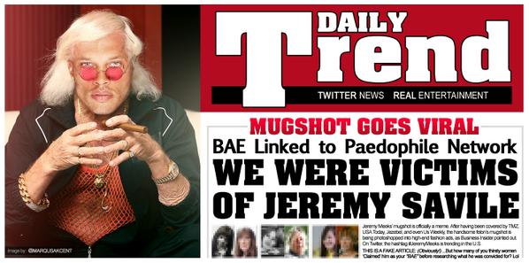 "JEREMY MEEKS: Your ""BAE"" Linked to Paedophile Network! #JeremyMeeks aka #HotMugshot #FelonCrushFriday #JeremySavile http://t.co/qsEO3J44PO"
