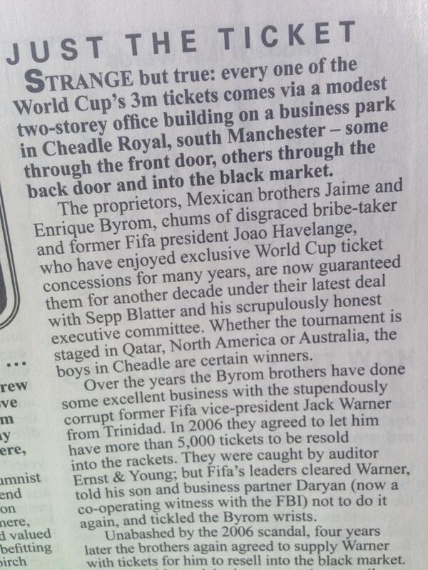 Interesting fact, all 3m World Cup tickets were printed in l'il ole Stockport..! (Near you boys @ClarkeNicklin!) http://t.co/sJz3hyFTEV