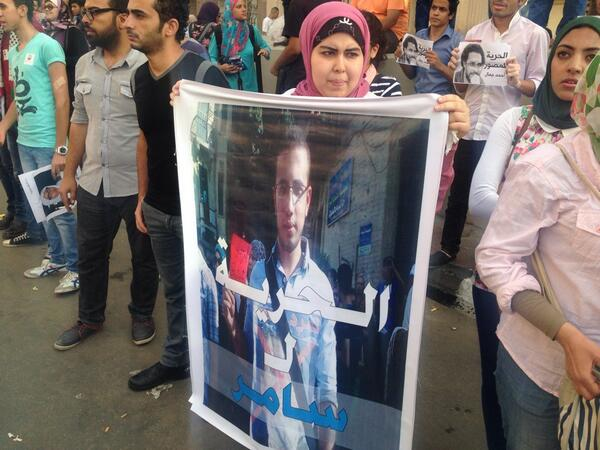 Protest sign: Freedom for Samer #noprotestlaw http://t.co/rZ2eVS5oMI