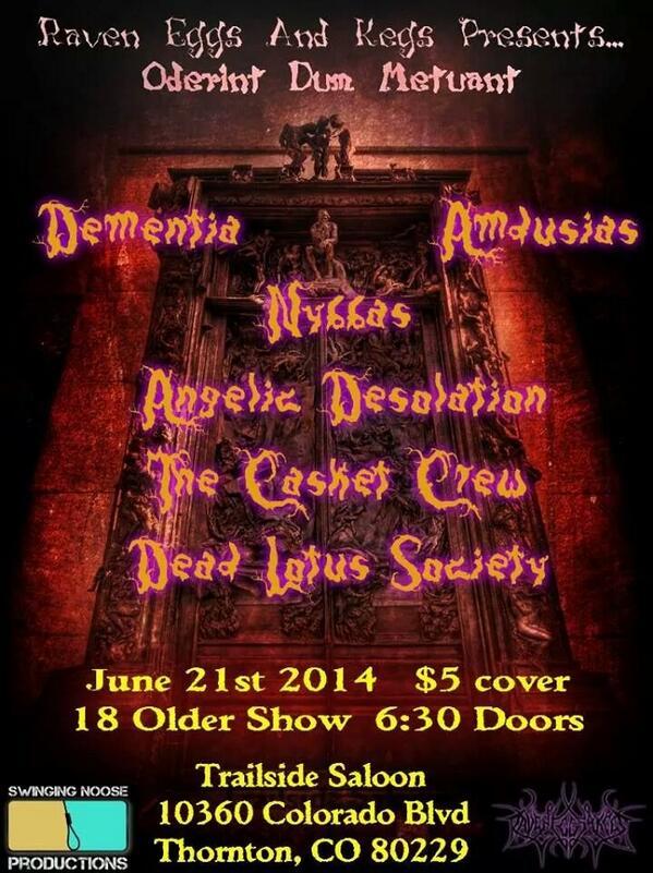 Metal show!!! #DenverDeathMetal #RavenEggsAndKegs #AngelicDesolationpic.twitter.com/Rqxam1c4Os