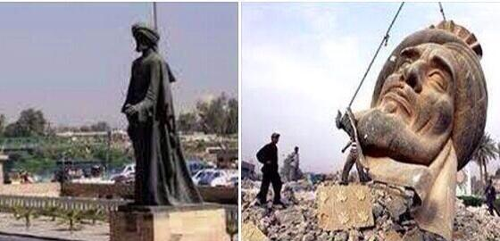 ISIS destroyed statue of Arab poet Abu Tammam in Mosul #Iraq #ISIS #MiddleEast (c) Mutlu Çiviroğlu, Twitter, 21st June 2014