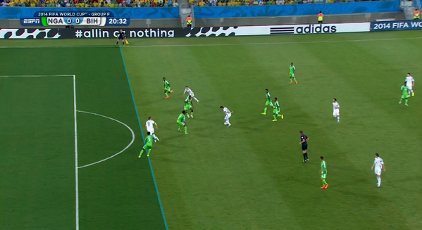 Man City striker Edin Dzeko was the victim of the terrible offside call for Bosnia v Nigeria [Picture]