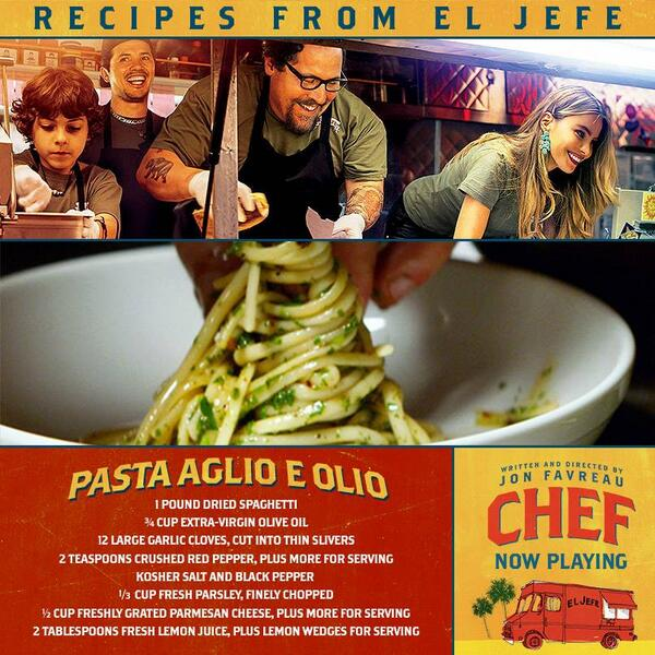 Want to cook the pasta that melts Scarlett Johansson's heart in #ChefMovie? Here's the recipe: http://t.co/PPq2P1YkWz http://t.co/rVddTbUthW