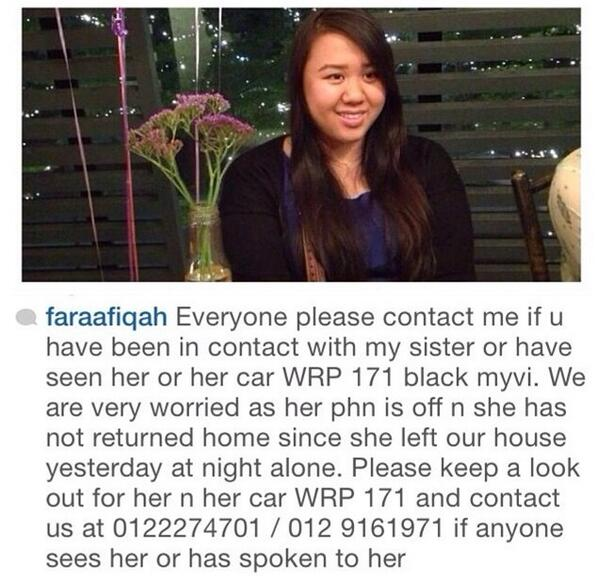Please help me out. My friend Fara Aqilah has gone missing since Friday. http://t.co/xvaz03Uc0h
