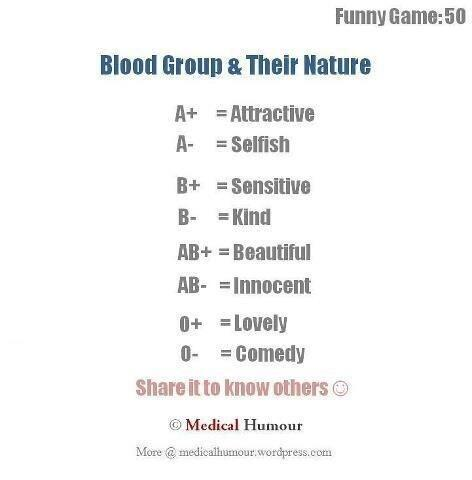Twitter / JoyAndLife: What does your blood-group ...