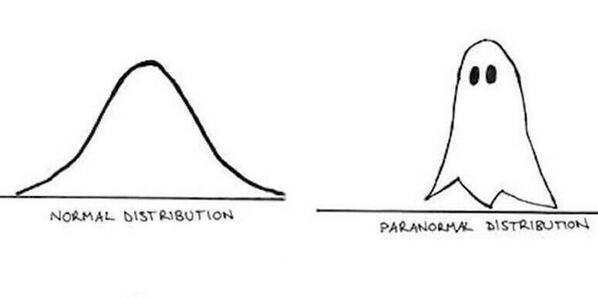 "Amusing (geeky) tweet of the morning #1: Normal Distribution vs Paranormal Distribution http://t.co/0UHJbKIx05"" via @sophiescott"