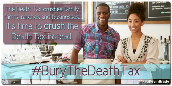 The death tax punishes Americans when they work hard and succeed. #BuryTheDeathTax #PJNET http://t.co/WfEqaE11OP