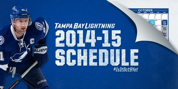 U201c@TBLightning: Drum Roll, Please: The 2014 2015 #TBLightning Schedule    Http://ow.ly/yjKOs #IsItOctoberYet Pic.twitter.com/Ucw38bCRCBu201d ...