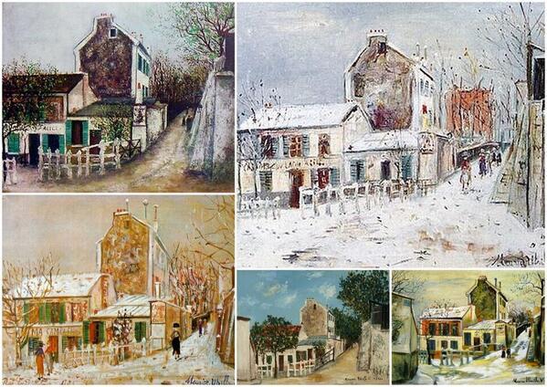【モーリス・ユリトロ】近代のフランスの画家。飲酒治療の一環として描画。アルコール依存症で、白の時代のものが有名。ラパン・アジル(写真)、コタンの袋小路、ノルヴァン通り、パリ郊外など #文系