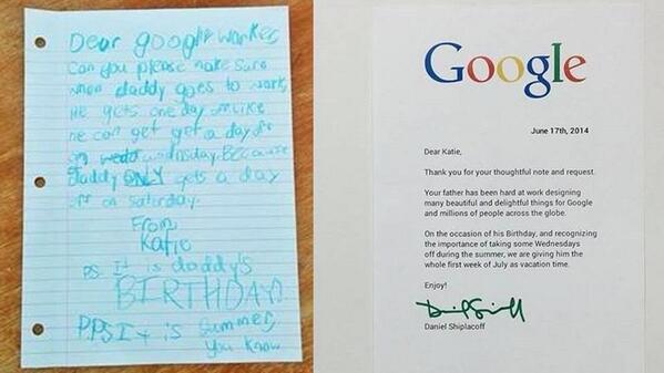 女の子がパパの会社(Google)に対して休みをくださいとお願いした手紙がかわゆすぎるし、Googleの安定の神対応。 http://t.co/3s2gw98hVi