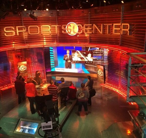 ESPN staffers watching first SC from new set ... from the old set http://t.co/xtgZBjR9P7