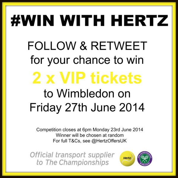 We're giving away two VIP tickets to #Wimbledon this Friday - follow & RT for your chance to win! http://t.co/yfCkHmTWpm