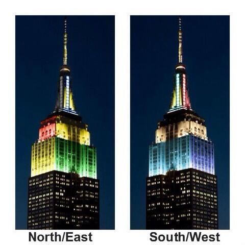 Esta noche las luces del Empire State le hacen honor a los cuatro países que quedan en el mundial. http://t.co/AzDJ5redvE