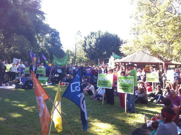 At #bustthebudget in Lismore. Big turn out. Angry and united for a fairer Australia @unionsnsw @nrgreens http://t.co/t7ZmckpgNq