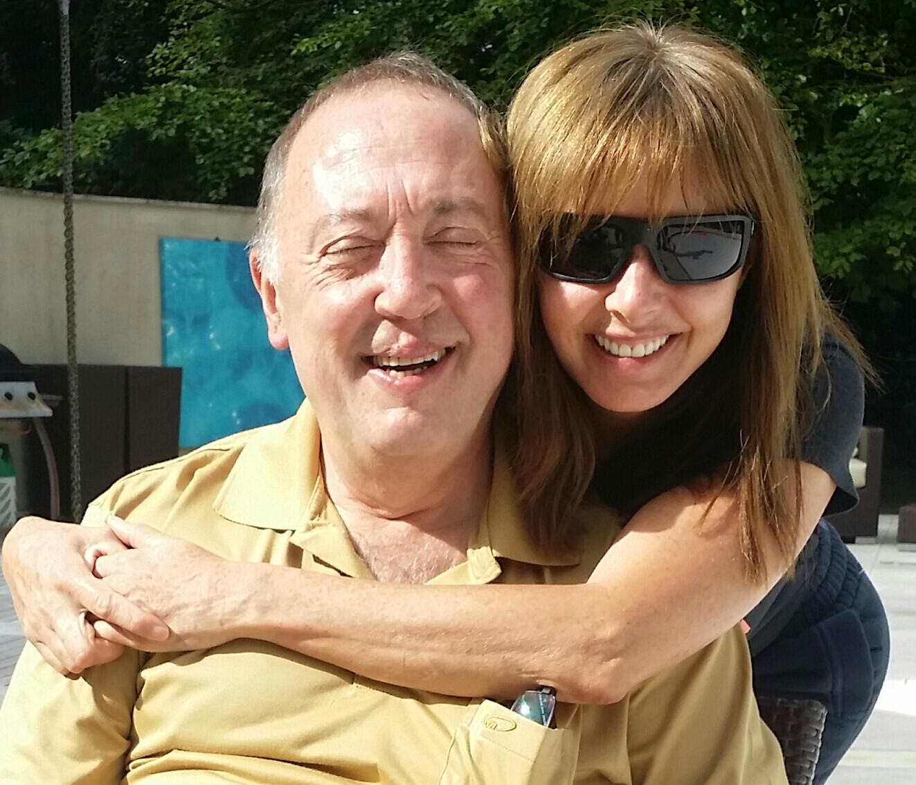 Me and my big brother Anton having a cuppa in the garden this morning xxx http://t.co/ayUB4DqhIE