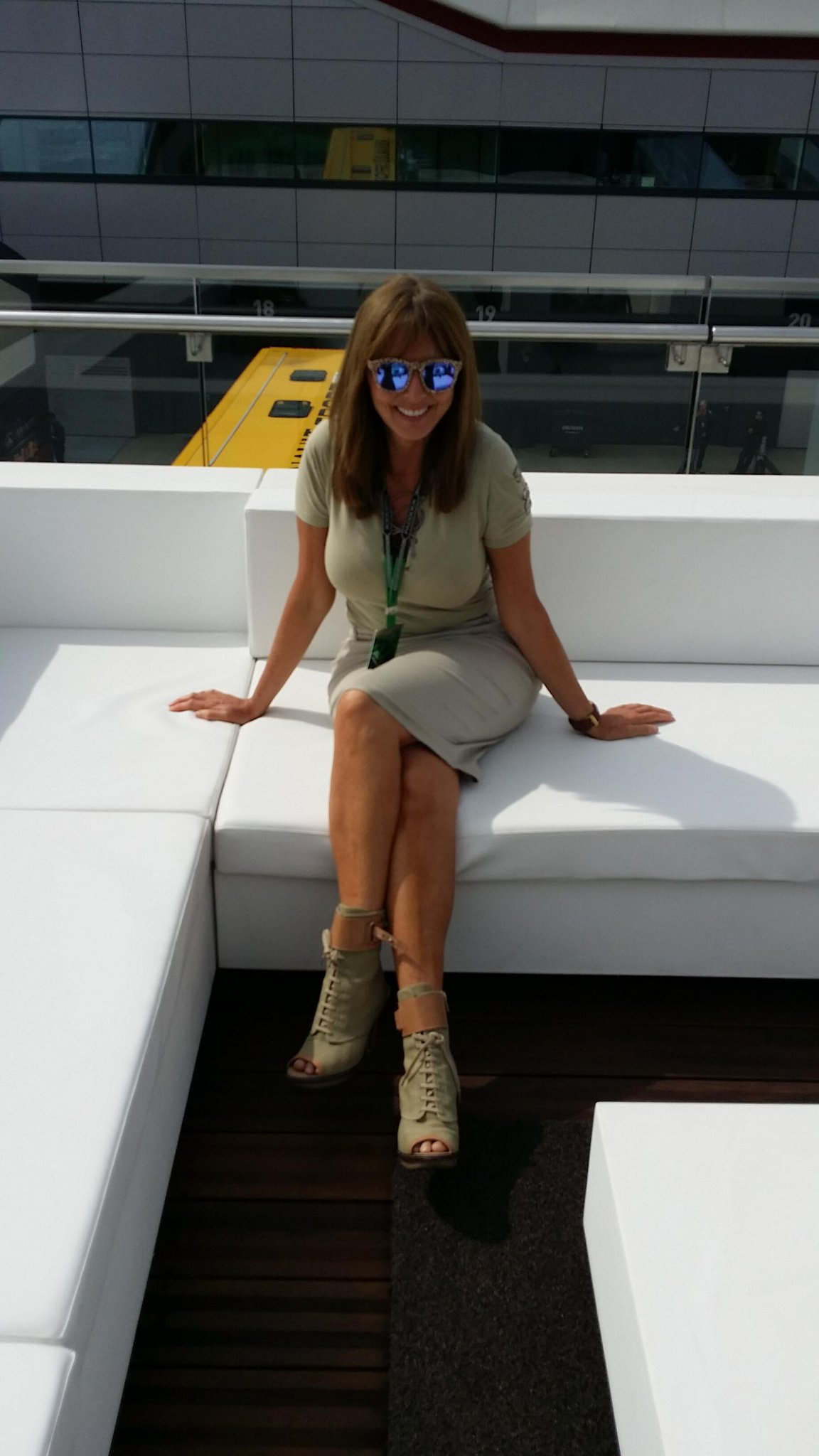 Ooh just found this from yesterday... On the roof of @MercedesAMGF1 motor home overlooking the paddock. @suziperry x http://t.co/p0kmTmmAw9