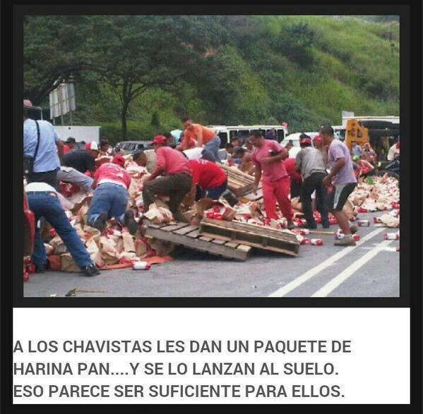 via @EsFalsoQue: La revolución ha construido una sociedad d muertos d hambre q recogen un Kg d Harina dl piso  http://t.co/tOhx7PnabA