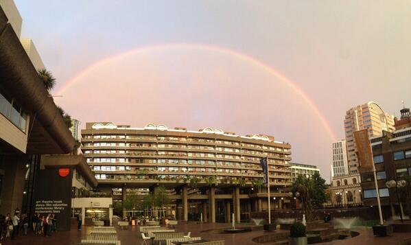 It's a good night. @BenFolds just completed playing his concerto and intermission brings a rainbow. http://t.co/ZkE4UpVaP6