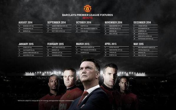 Calendario Manchester United.Sp Manchester United On Twitter Foto Calendario De La